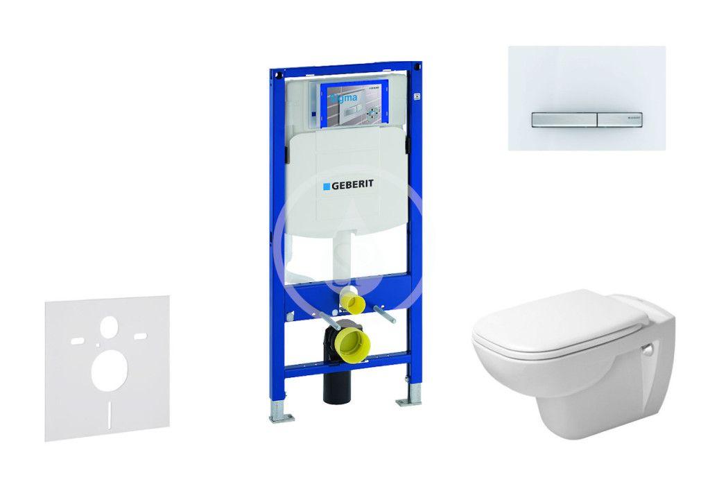 GEBERIT Duofix Modul pro závěsné WC s tlačítkem Sigma50, alpská bílá + Duravit D-Code WC a sedátko,