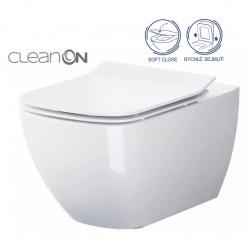 CERSANIT - SET B245 závěsná mísa VIRGO CLEAN ON včetně dur. sedátka SLIM ŁW WO (S701-427)