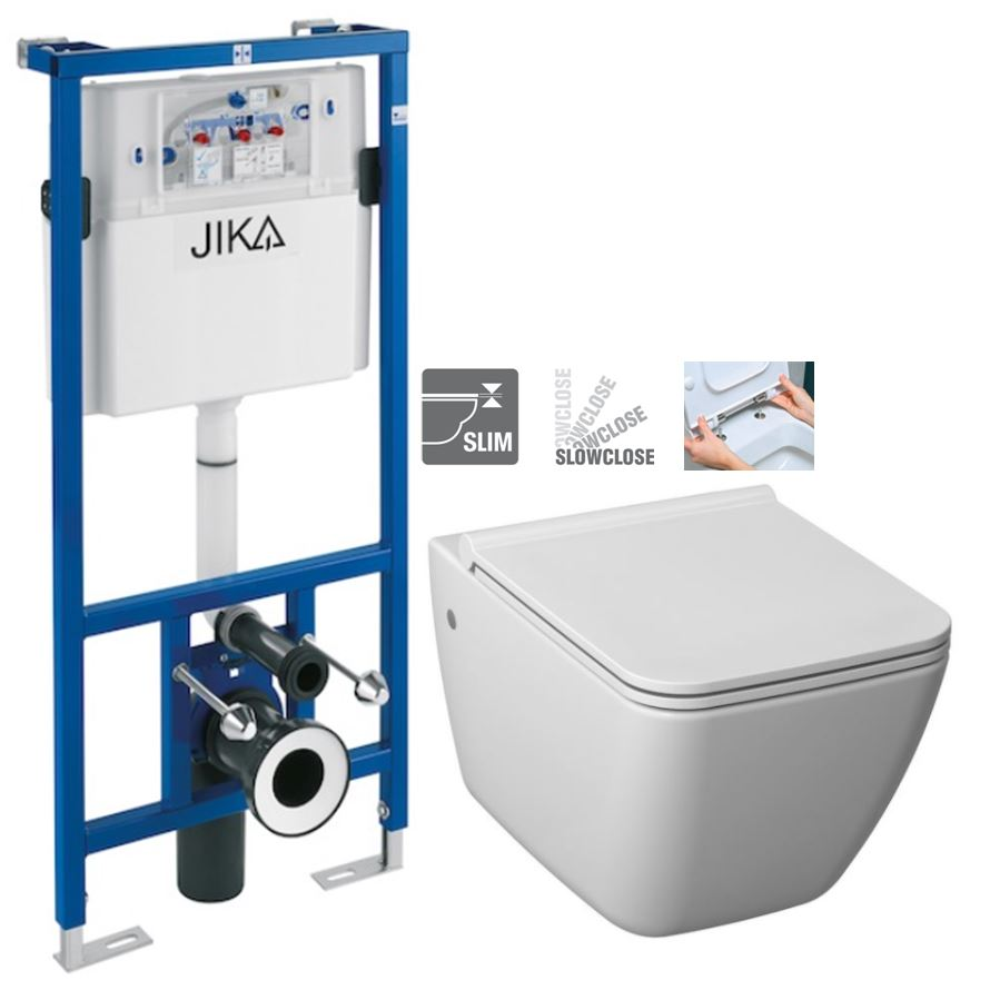 předstěnový instalační systém bez tlačítka + WC JIKA PURE + SEDÁTKO SLOWCLOSE H895652 X PU2