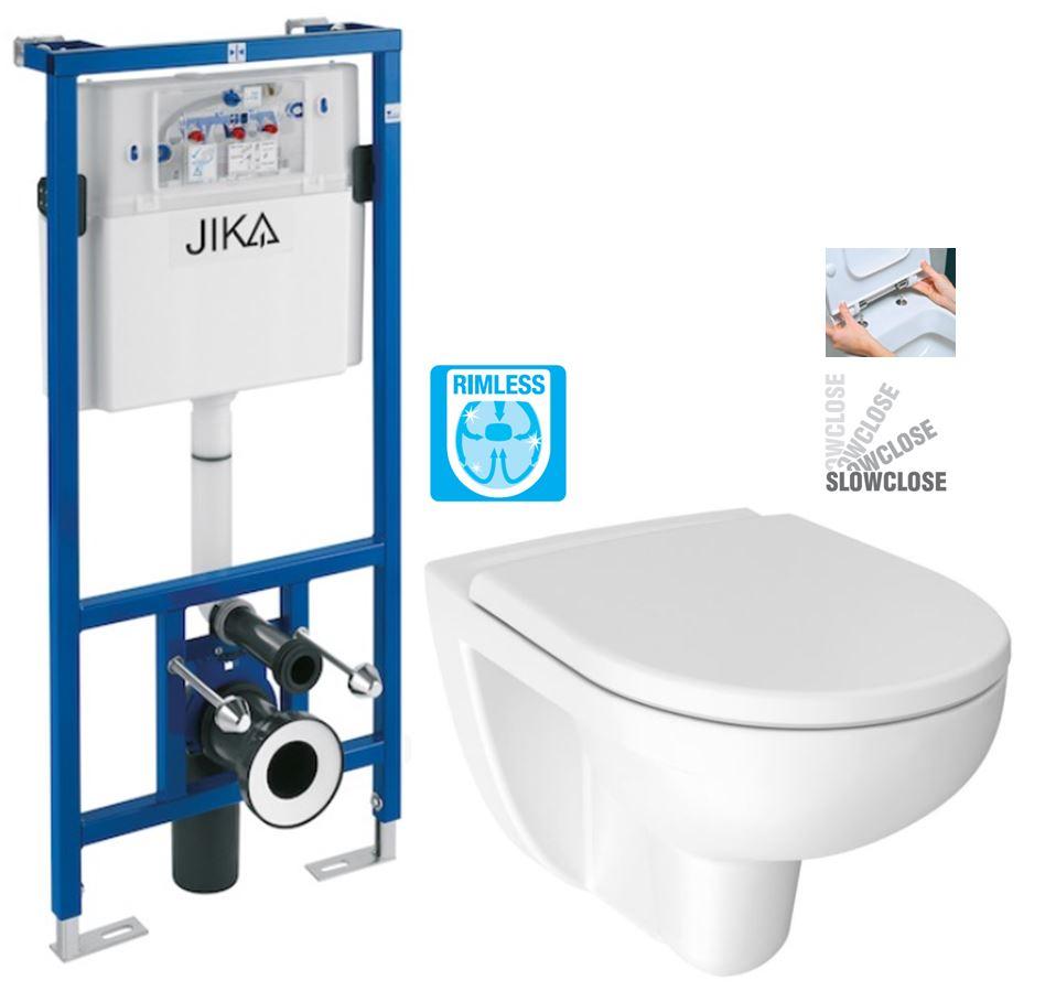 JIKA předstěnový instalační systém bez tlačítka + WC JIKA LYRA PLUS RIMLESS + SEDÁTKO DURAPLAST SLOWCLOSE H895652 X LY2