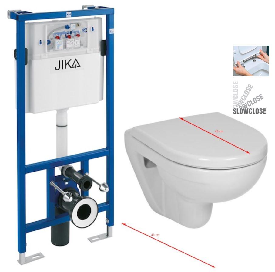 JIKA předstěnový instalační systém bez tlačítka + WC JIKA LYRA PLUS 49 + SEDÁTKO DURAPLAST SLOWCLOSE H895652 X LY4
