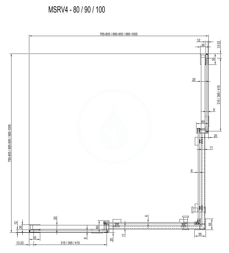 RAVAK - Matrix Sprchový kout čtyřdílný MSRV4-100/100, 985-1005 mm, bílá/čiré sklo (1WVAA100Z1)