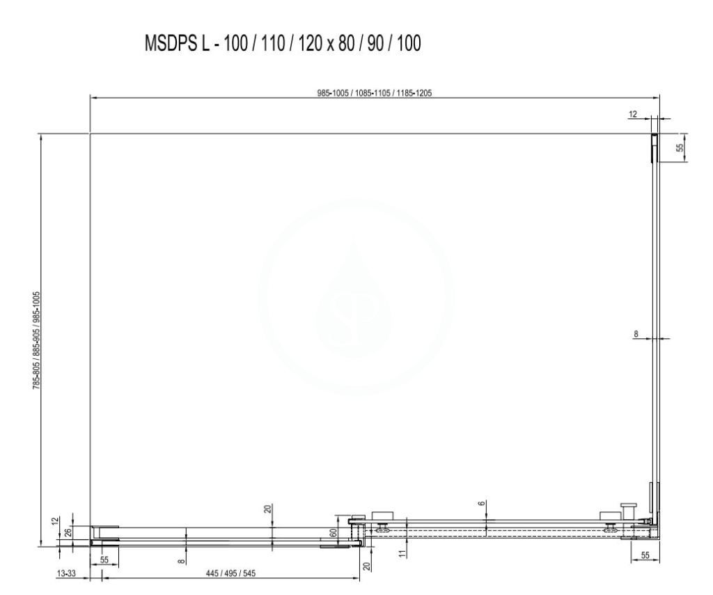 RAVAK - Matrix Sprchový kout třídílný MSDPS-100/80 L, 985-1005x785-805 mm, bílá/čiré sklo (0WLA4100Z1)