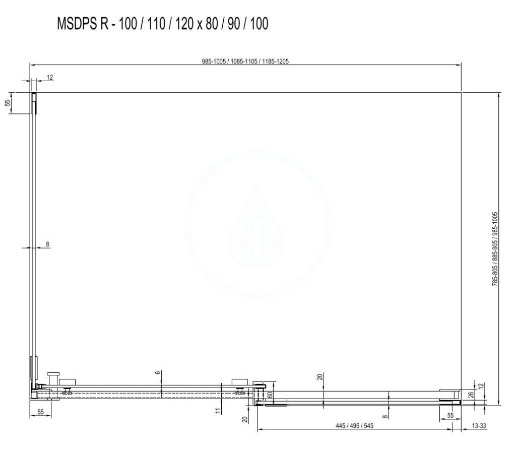 RAVAK - Matrix Sprchový kout třídílný MSDPS-100/80 R, 985-1005x785-805 mm, lesklý hliník/čiré sklo (0WPA4C00Z1)