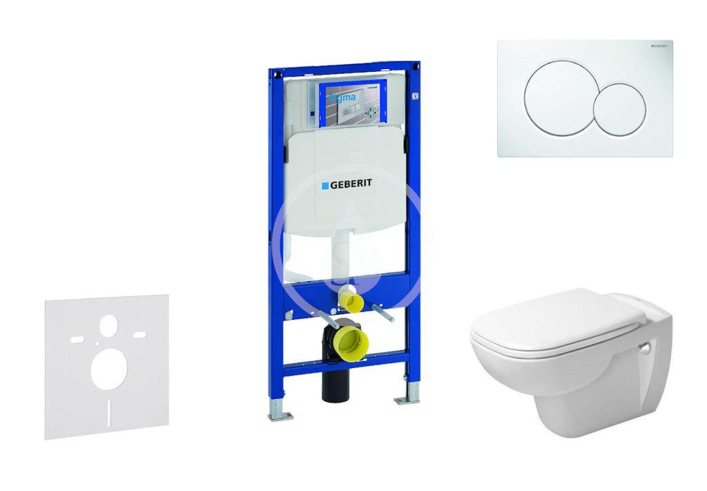 GEBERIT Duofix Modul pro závěsné WC s tlačítkem Sigma01, alpská bílá + Duravit D-Code WC a sedátko,