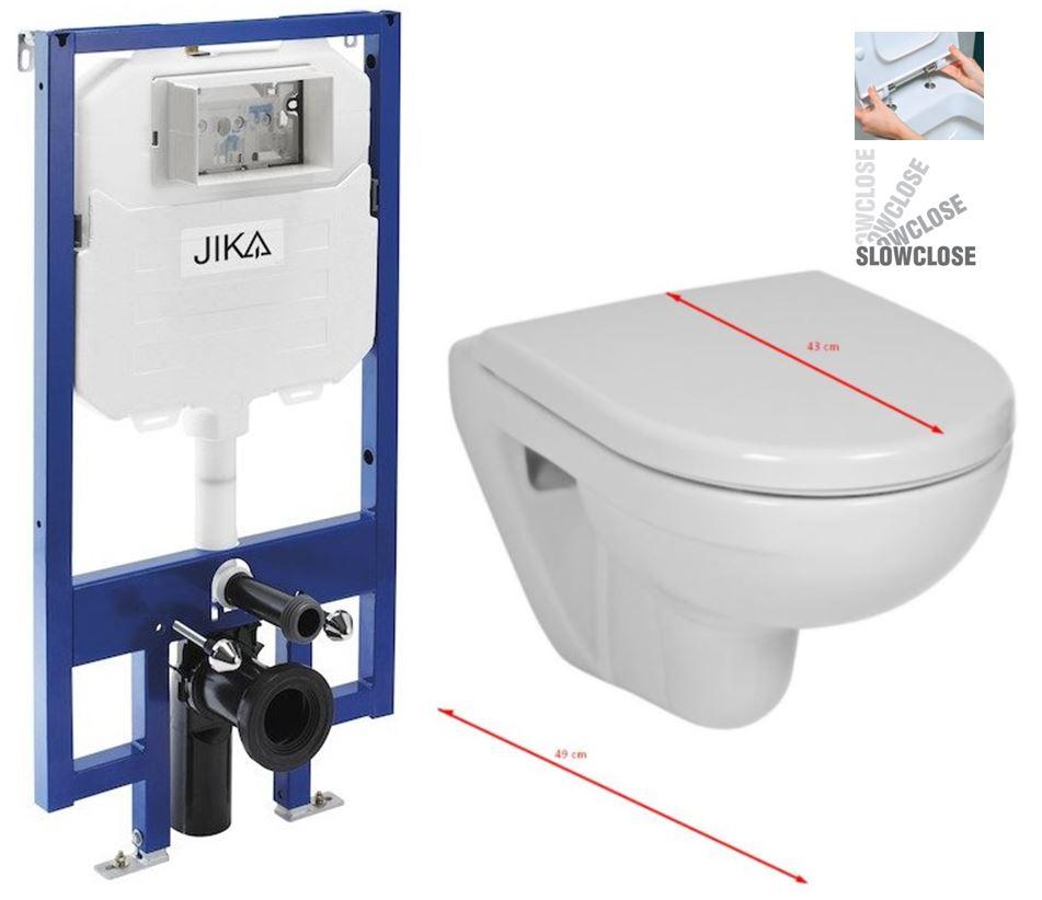 JIKA předstěnový instalační 8 cm systém bez tlačítka + WC JIKA LYRA PLUS 49 + SEDÁTKO DURAPLAST SLOWCLOSE H894652 X LY4