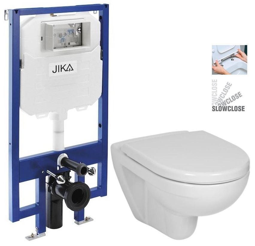 JIKA předstěnový instalační 8 cm systém bez tlačítka + WC JIKA LYRA PLUS + SEDÁTKO DURAPLAST SLOWCLOSE H894652 X LY5