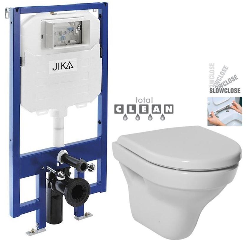 JIKA předstěnový instalační 8 cm systém bez tlačítka + WC JIKA TIGO + SEDÁTKO DURAPLAST SLOWCLOSE H894652 X TI2