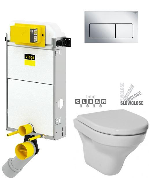 VIEGA Presvista modul PURE pro WC včetně tlačítka Life5 CHROM + WC JIKA TIGO + SEDÁTKO DURAPLAST SLOWCLOSE V771928 LIFE5CR TI2