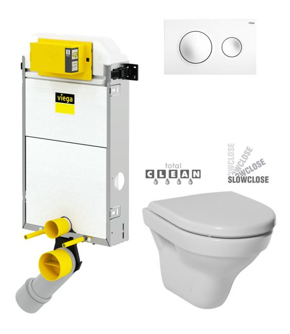 VIEGA Presvista modul PURE pro WC včetně tlačítka Style 20 bílé + WC JIKA TIGO + SEDÁTKO DURAPLAST SLOWCLOSE V771928 STYLE20BI TI2