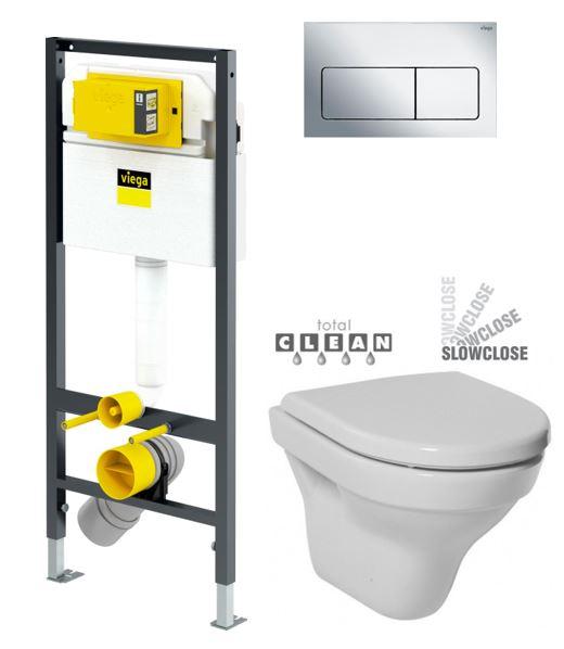 VIEGA Presvista modul DRY pro WC včetně tlačítka Life5 CHROM + WC JIKA TIGO + SEDÁTKO DURAPLAST SLOWCLOSE V771973 LIFE5CR TI2