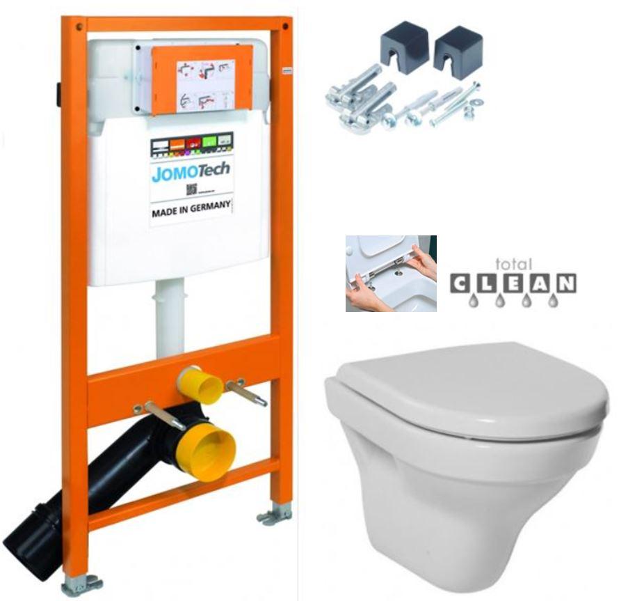 JOMOTech modul pro závěsné WC s bílou deskou + WC JIKA TIGO + SEDÁTKO DURAPLAST RYCHLOUPÍNACÍ 174-91100900-00 TI1