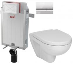 ALCAPLAST  Renovmodul - předstěnový instalační systém s chromovým tlačítkem M1721 + WC JIKA LYRA PLUS + SEDÁTKO DURAPLAST (AM115/1000 M1721 LY6)