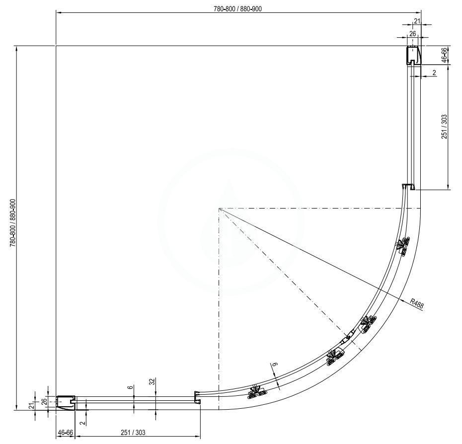 RAVAK - Blix Čtvrtkruhový sprchový kout čtyřdílný BLCP4-90 Sabina, 880-900 mm, satin/čiré sklo (3B270U40Z1)