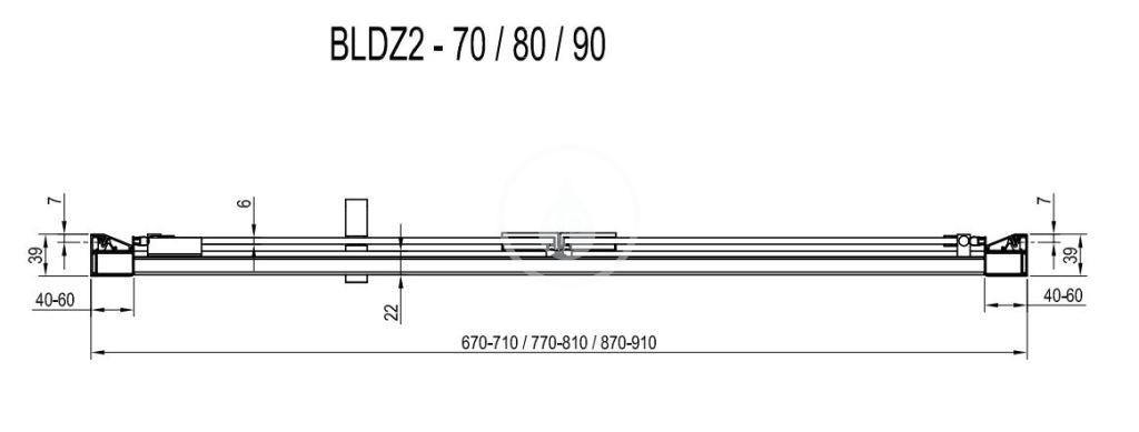 RAVAK - Blix Sprchové dveře zalamovací BLDZ2-80, 770-810 mm, lesklý hliník/čiré sklo (X01H40C00Z1)