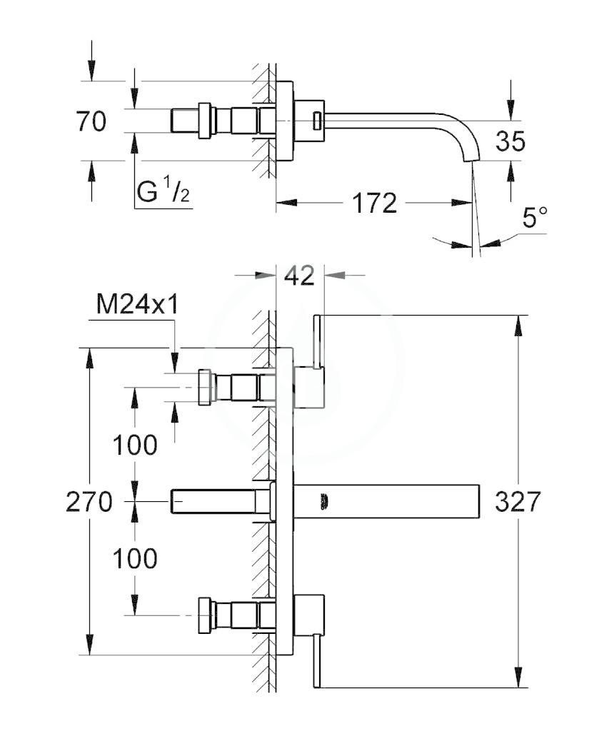 GROHE - Allure Umyvadlová 3-otvorová baterie, chrom (20189000)
