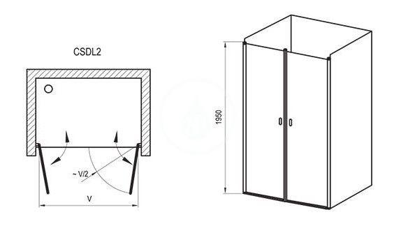 RAVAK - Chrome Sprchové dveře dvoukřídlé CSDL2-90, 875-905 mm, bílá/čiré sklo (0QV7C10LZ1)