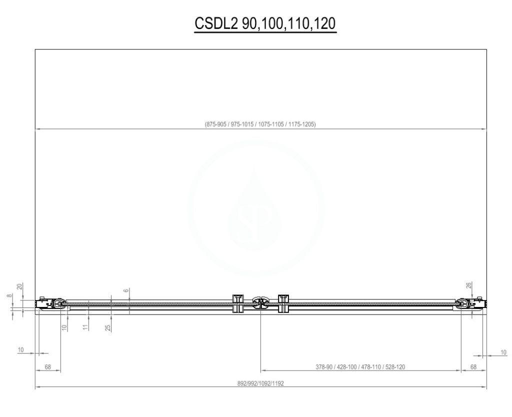 RAVAK - Chrome Sprchové dveře dvoukřídlé CSDL2-90, 875-905 mm, lesklý hliník/čiré sklo (0QV7CC0LZ1)