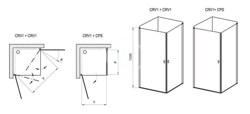 RAVAK - Chrome Sprchové dveře CRV1-80, 780-800 mm, bílá/čiré sklo (1QV40101Z1)