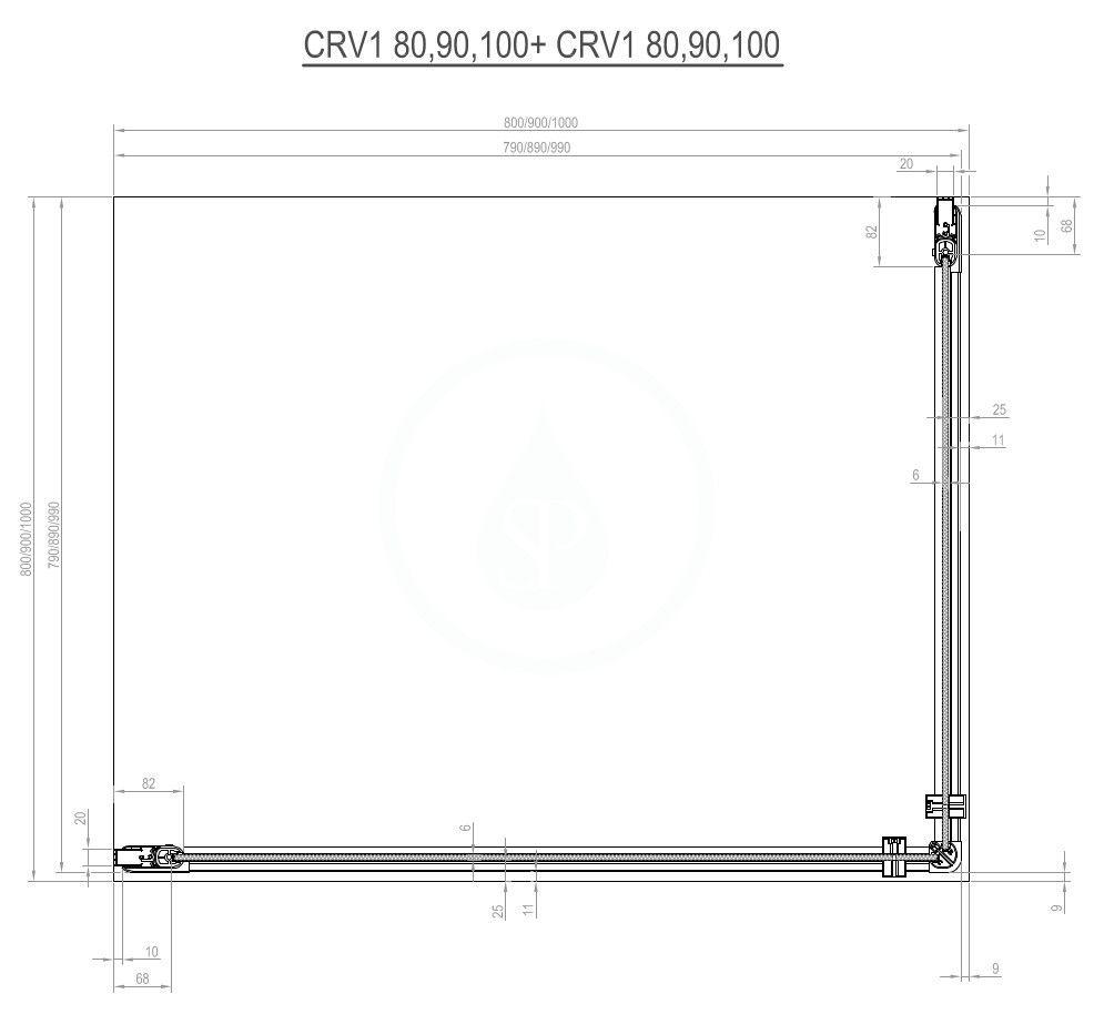 RAVAK - Chrome Sprchové dveře CRV1-80, 780-800 mm, satin/čiré sklo (1QV40U01Z1)