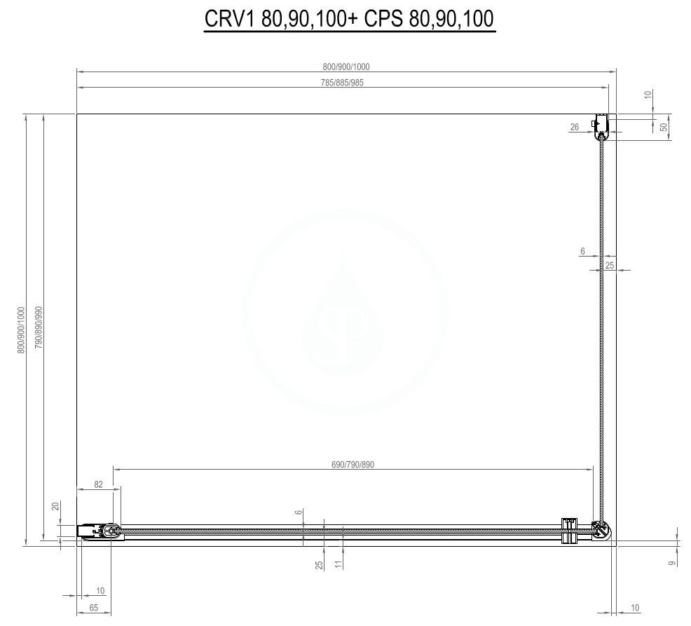 RAVAK - Chrome Sprchové dveře CRV1-100, 980-1000 mm, satin/čiré sklo (1QVA0U01Z1)