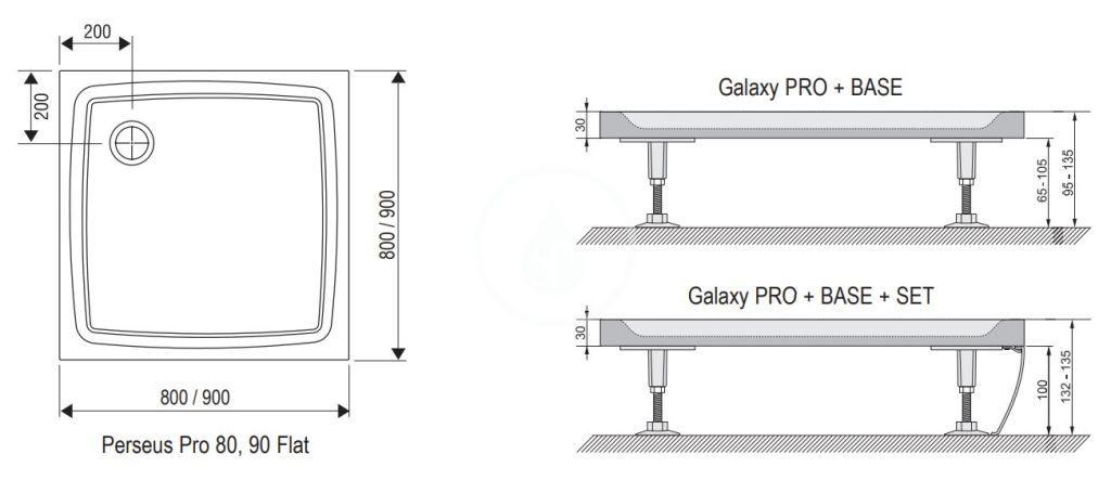 RAVAK - Galaxy Pro Flat Sprchová vanička Perseus Pro-80, 800x800 mm, bílá (XA034411010)