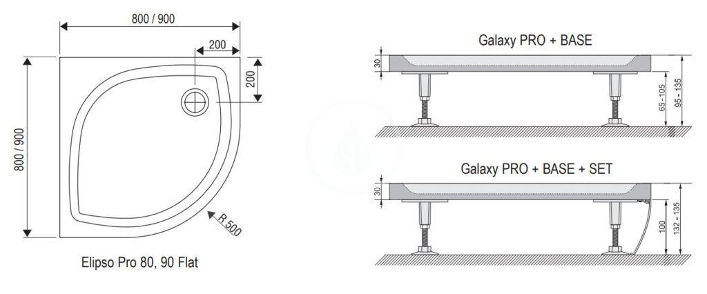 RAVAK - Galaxy Pro Flat Čtvrtkruhová sprchová vanička Elipso Pro-80 Flat, 800x800 mm, bílá (XA234411010)