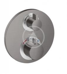 HANSGROHE - Ecostat S Termostatická baterie pod omítku pro 2 spotřebiče, kartáčovaný černý chrom (15758340)