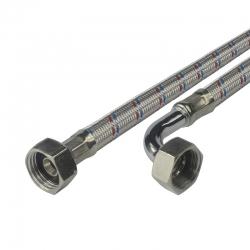 """MEREO - Připojovací hadice 8x12, FxF, 1/2""""x1/2"""" s kolínkem, 100 cm, nerez opletení (CR397C)"""