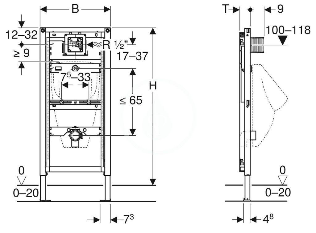 GEBERIT - Duofix Montážní prvek Universal pro pisoár, 112–130 cm (111.616.00.1)