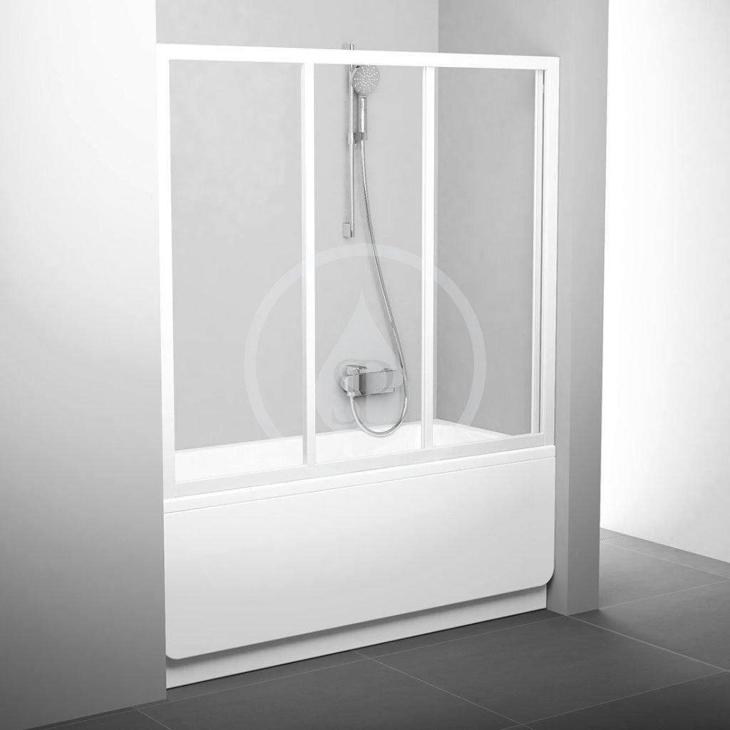 RAVAK Supernova Vanové dveře třídílné AVDP3-150, 1470-1510 mm, bílá/čiré sklo 40VP0102Z1