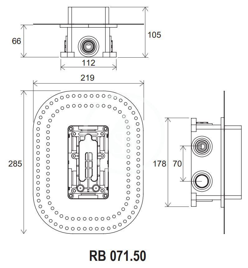 RAVAK - R-box Základní těleso RB 071.50 pro baterie pod omítku R-box Multi (X070074)