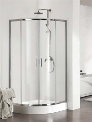 KERMI - Cada CK čtvrtkruh 80 R550 v.2000 čiré sklo s CadaClean (posuvné dveře) stříbrný  CKT5508020VPK (CKT5508020VPK)