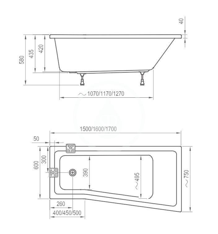 RAVAK - BeHappy II Vanové podpory (CY94000000)