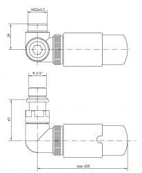 TERMA Tělesová sada VISION bílá matná levá termostatická úhlová pro CU i ALPEX TGETVISILKS96 (TGETVISIL-KS96), fotografie 2/3