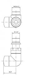 TERMA Tělesová sada VISION bílá matná levá termostatická úhlová pro CU i ALPEX TGETVISILKS96 (TGETVISIL-KS96), fotografie 4/3
