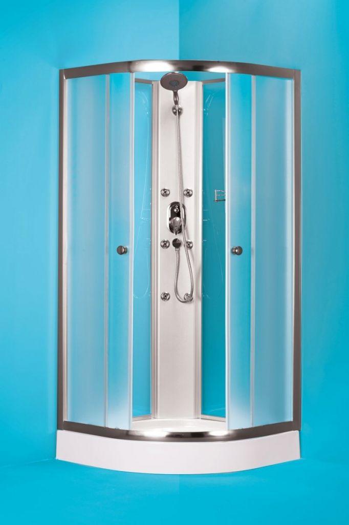 HOPA Čtvrtkruhový sprchový box GRANADA Barva rámu zástěny Hliník chrom, Rozměr A 90 cm, Rozměr B 90 cm, Vanička HL Akrylová vanička OLBGRA90CMBV+OLBGRA90V