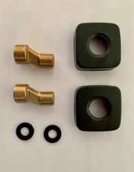 REA - 2x rozeta černá + 2x etážka mosazná   (REA-B5256-06X)