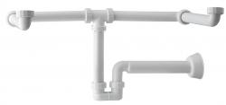 MOSQUITO Umyvadlový sifon pro dvojumyvadlo, 1'1/4, odpad 40 mm, bílá (2122.054.6) - Omp Tea