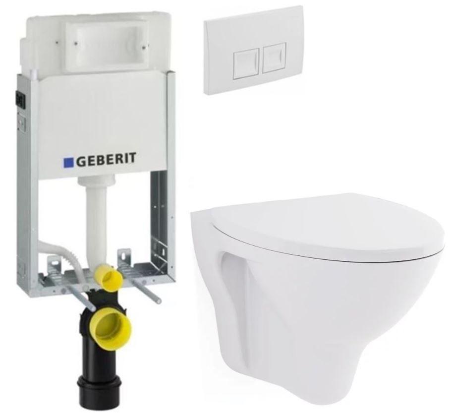 Geberit KOMBIFIX Basic tlačítko DELTA 50 Bílé WC CERSANIT ARES + SEDÁTKO 110.100.00.1 50BI AR1