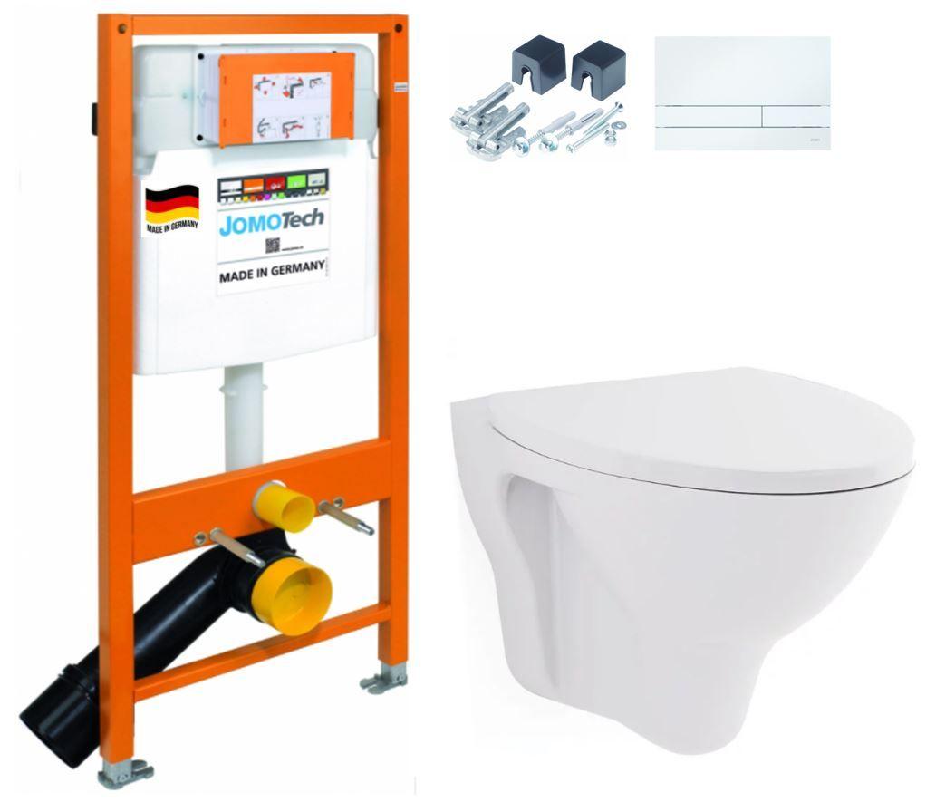 JOMOTech modul pro závěsné WC s bílou deskou + WC CERSANIT ARES + SEDÁTKO 174-91100900-00 AR1