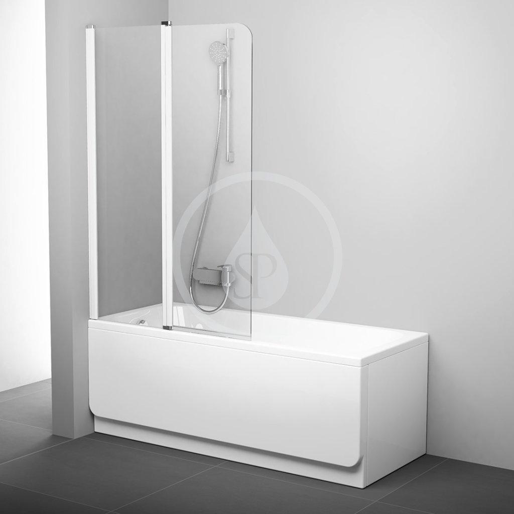 RAVAK Chrome Vanová zástěna dvoudílná CVS2, levá, 990x1500 mm, bílá/transparentní sklo 7QLA0100Z1