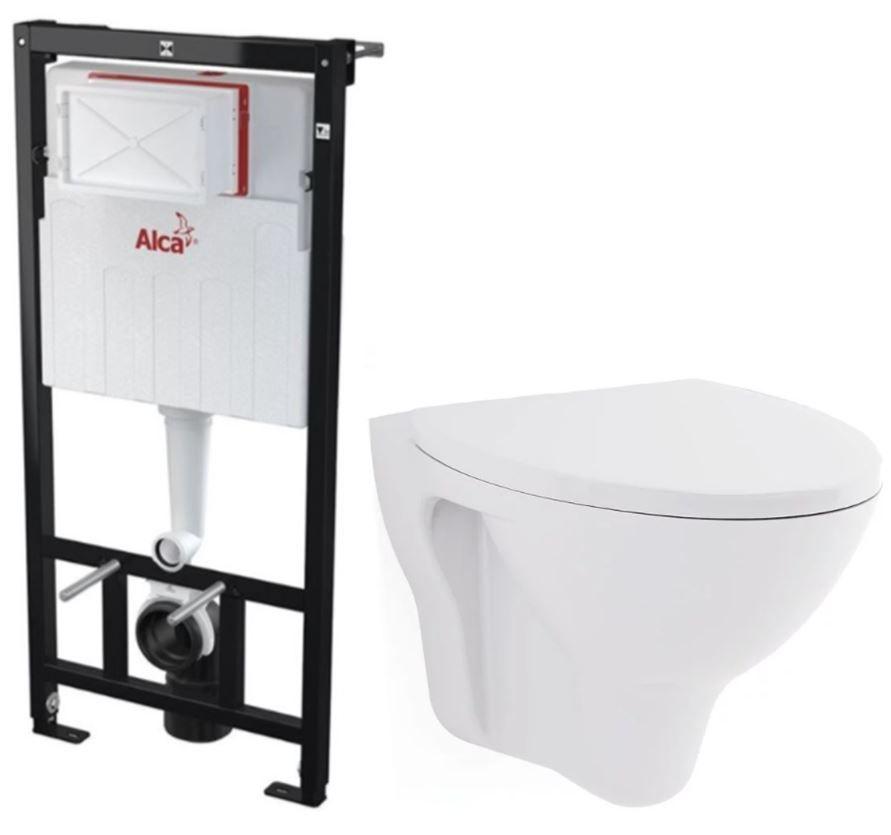 ALCAPLAST Sádromodul předstěnový instalační systém bez tlačítka + WC CERSANIT ARES + SEDÁTKO AM101/1120 X AR1