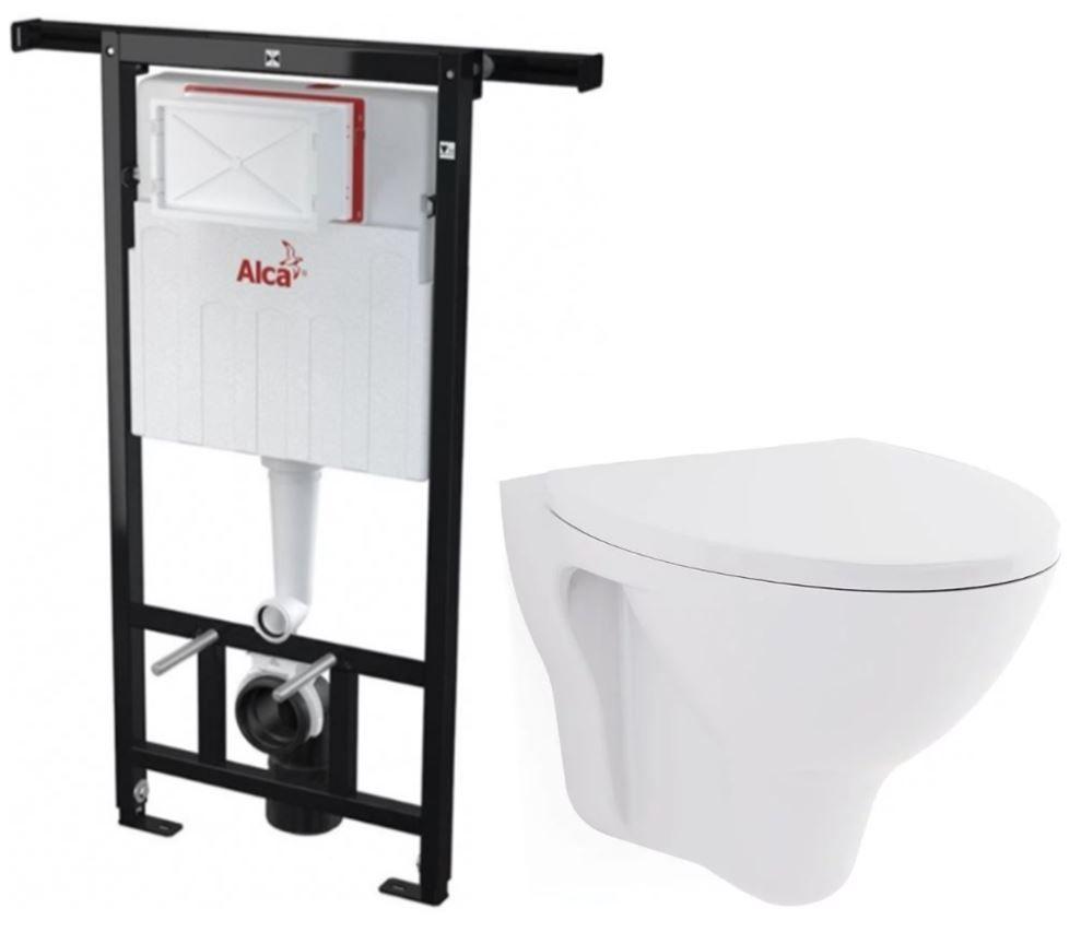 ALCAPLAST Jádromodul předstěnový instalační systém bez tlačítka + WC CERSANIT ARES + SEDÁTKO AM102/1