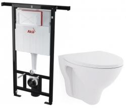 ALCAPLAST  Jádromodul - předstěnový instalační systém bez tlačítka + WC CERSANIT ARES + SEDÁTKO (AM102/1120 X AR1)