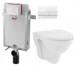 ALCAPLAST  Renovmodul - předstěnový instalační systém s bílým tlačítkem M1710 + WC CERSANIT ARES + SEDÁTKO (AM115/1000 M1710 AR1)