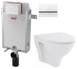 ALCAPLAST  Renovmodul - předstěnový instalační systém s bílým/ chrom tlačítkem M1720-1 + WC CERSANIT ARES + SEDÁTKO (AM115/1000 M1720-1 AR1)