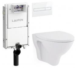 LAUFEN Podomít. systém LIS TW1 SET s bílým tlačítkem + WC CERSANIT ARES + SEDÁTKO (H8946630000001BI AR1)