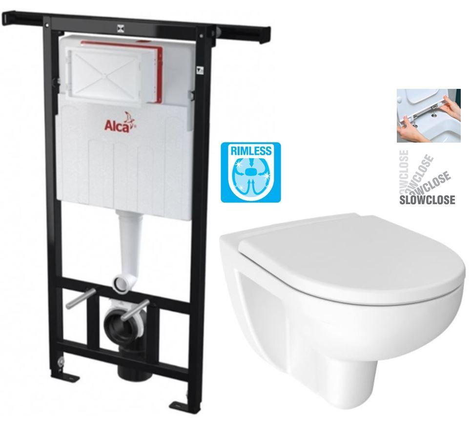 ALCAPLAST Jádromodul předstěnový instalační systém bez tlačítka + WC JIKA LYRA PLUS RIMLESS + SEDÁTKO DURAPLAST SLOWCLOSE AM102/1120 X LY2