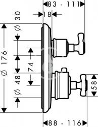 AXOR - Montreux Termostatická baterie pod omítku s uzavíracím a přepínacím ventilem, chrom (16820000), fotografie 4/3